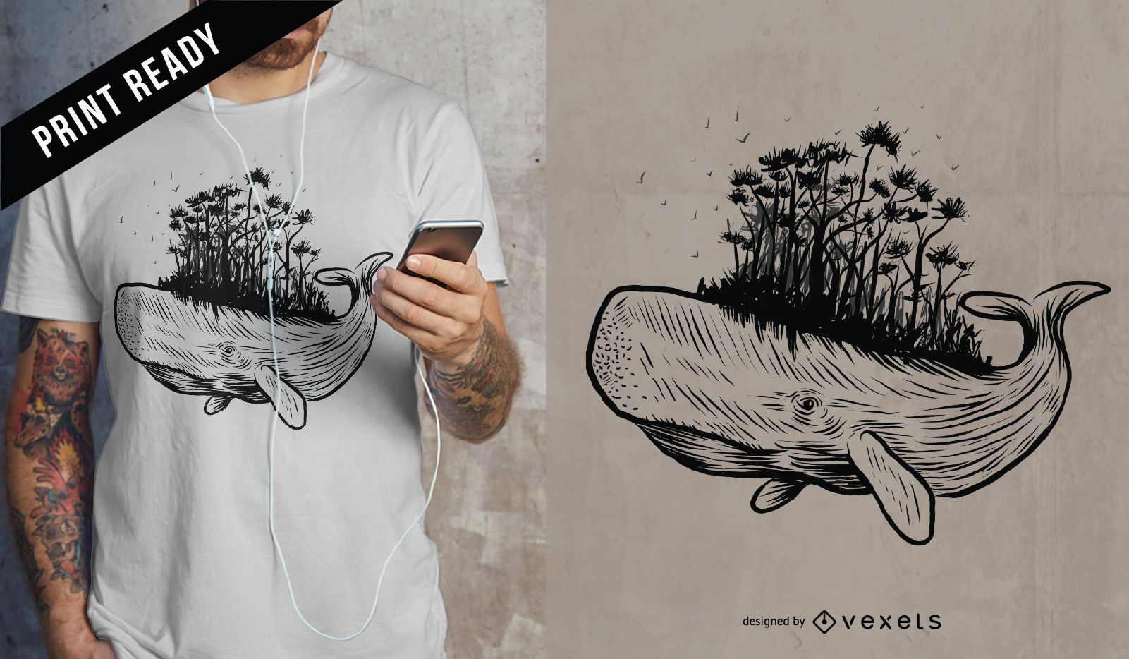 Diseño de camiseta de bosque de ballenas.