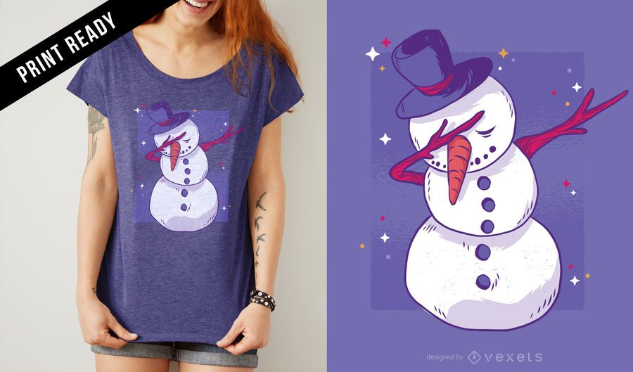 Boneco de neve dab t-shirt design