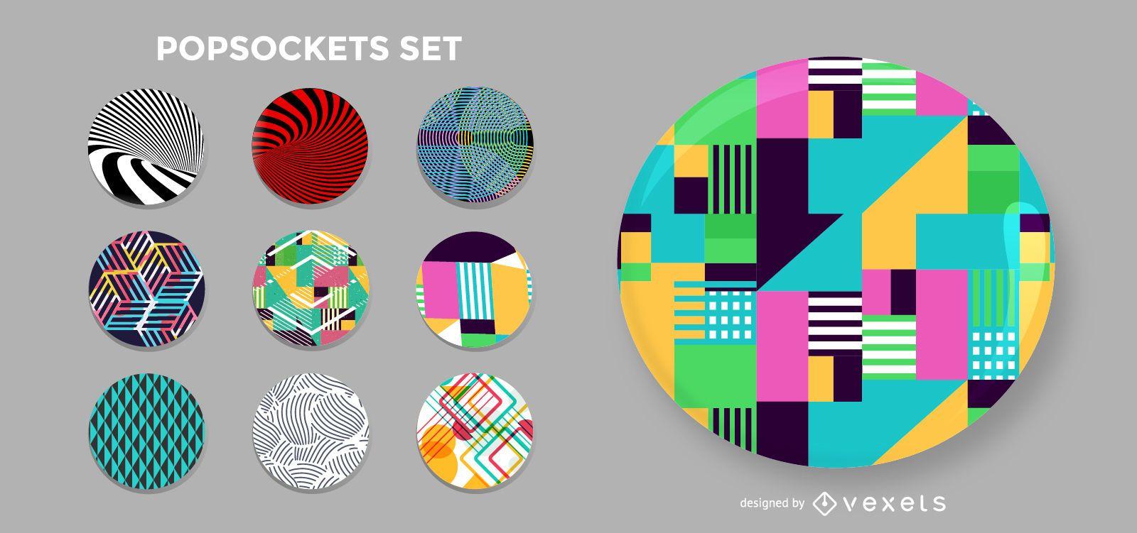 Set popsockets de formas geométricas
