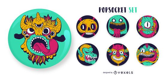 Conjunto de popsockets Monster