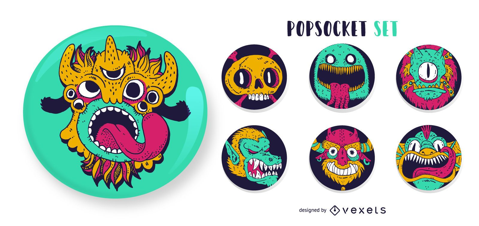 Conjunto de popsockets monstro