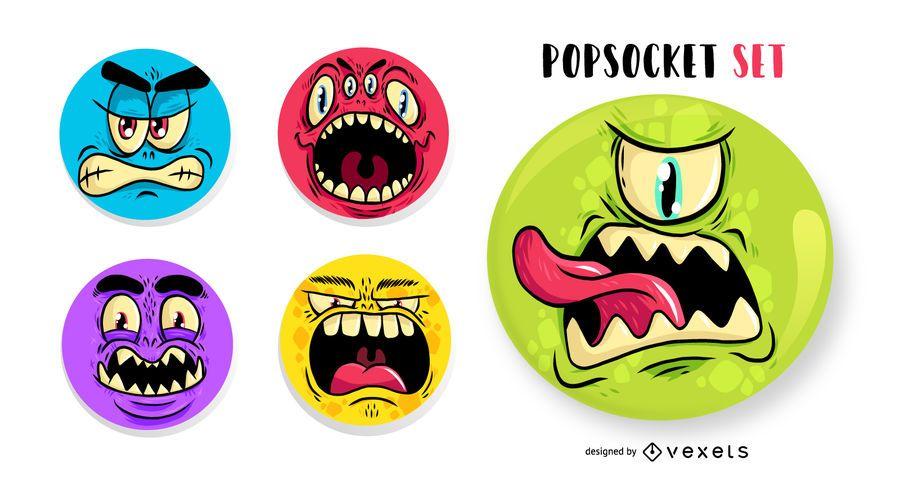 Conjunto de popsockets de cara de monstro