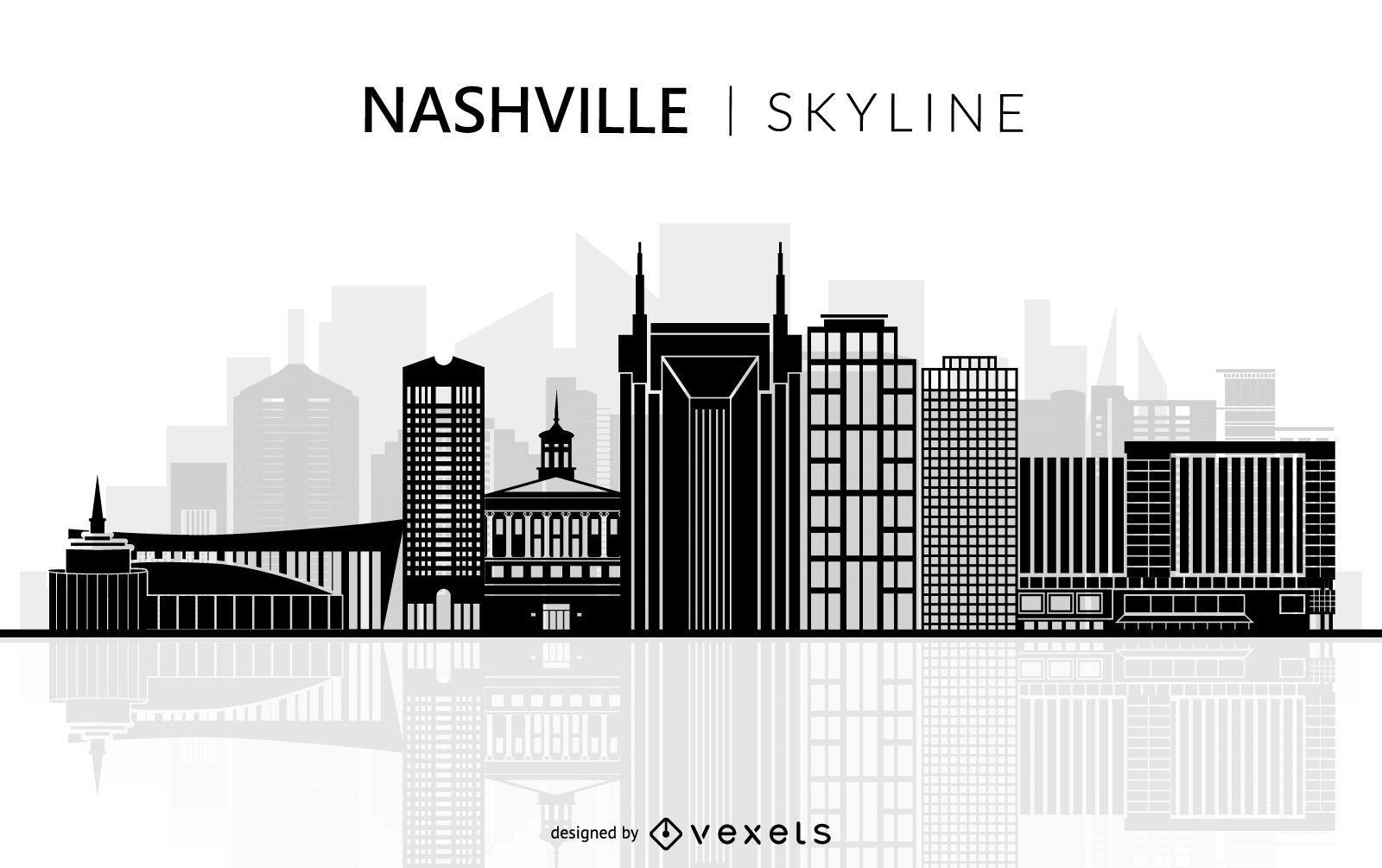 Nashville Tennessee Skyline Silhouette Graphic