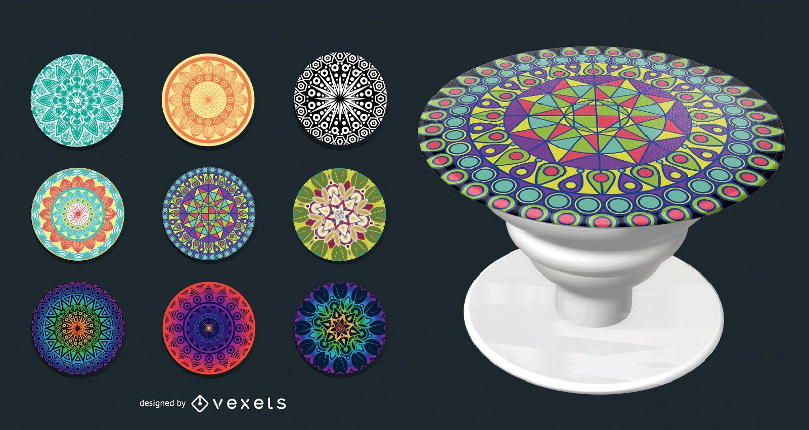 Colorful geometric popsockets set