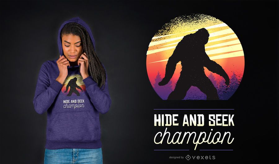 Design de camisetas engraçadas do BigFoot Hide And Seek Champion