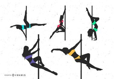 Pole dancing silhouette set