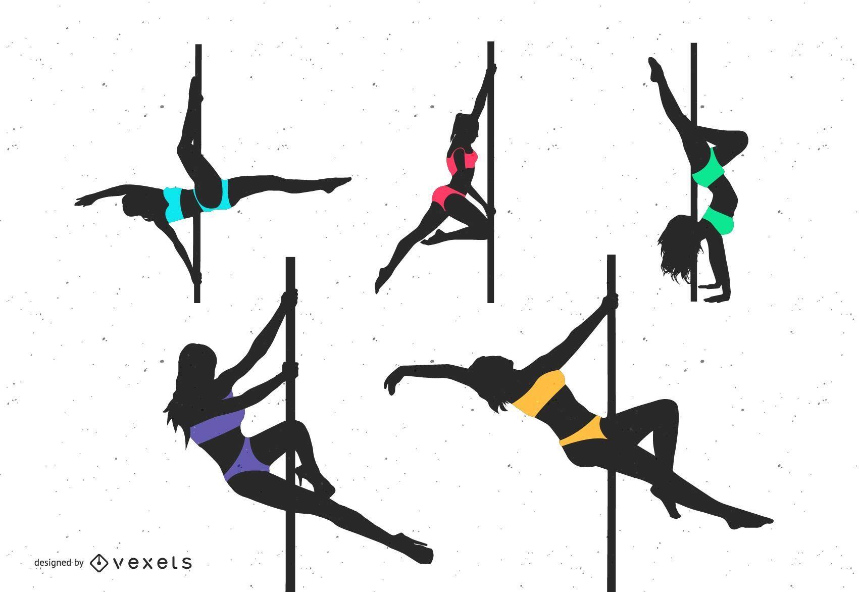 Pole dancing silhouette set