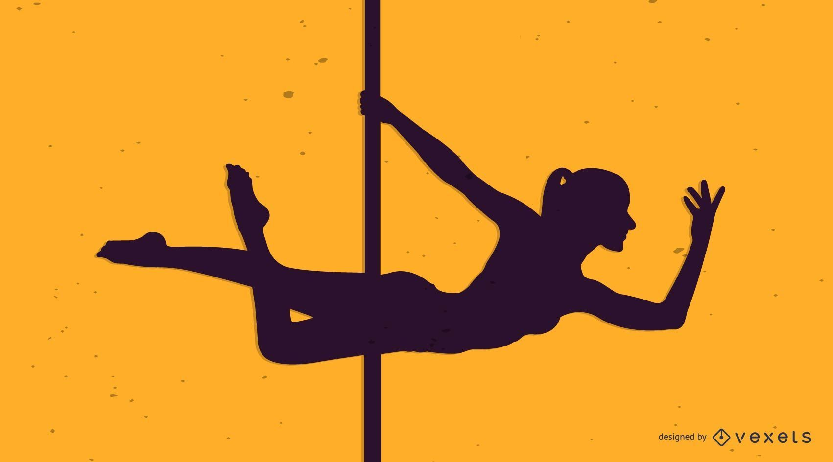 Woman pole dancing silhouette