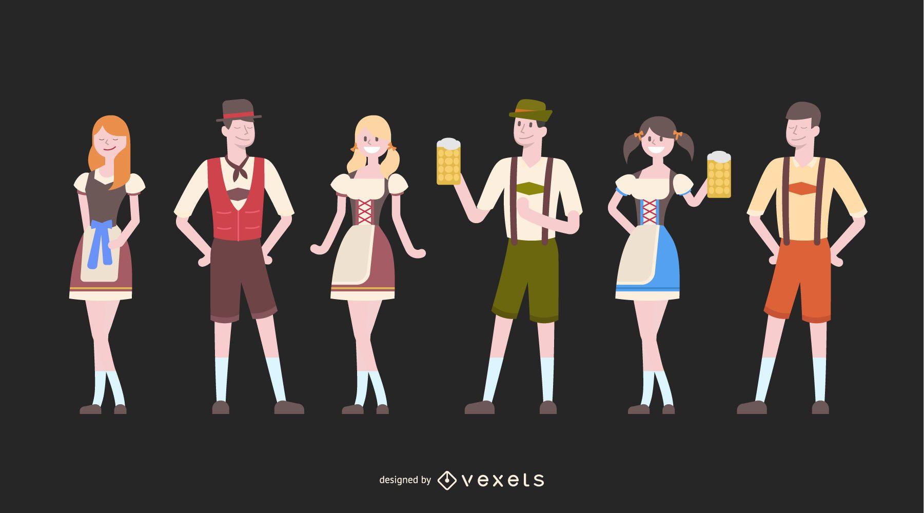 Oktoberfest characters illustration set