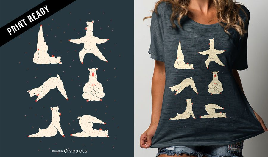 Llama Yoga Funny Cute Cartoon T-shirt Design