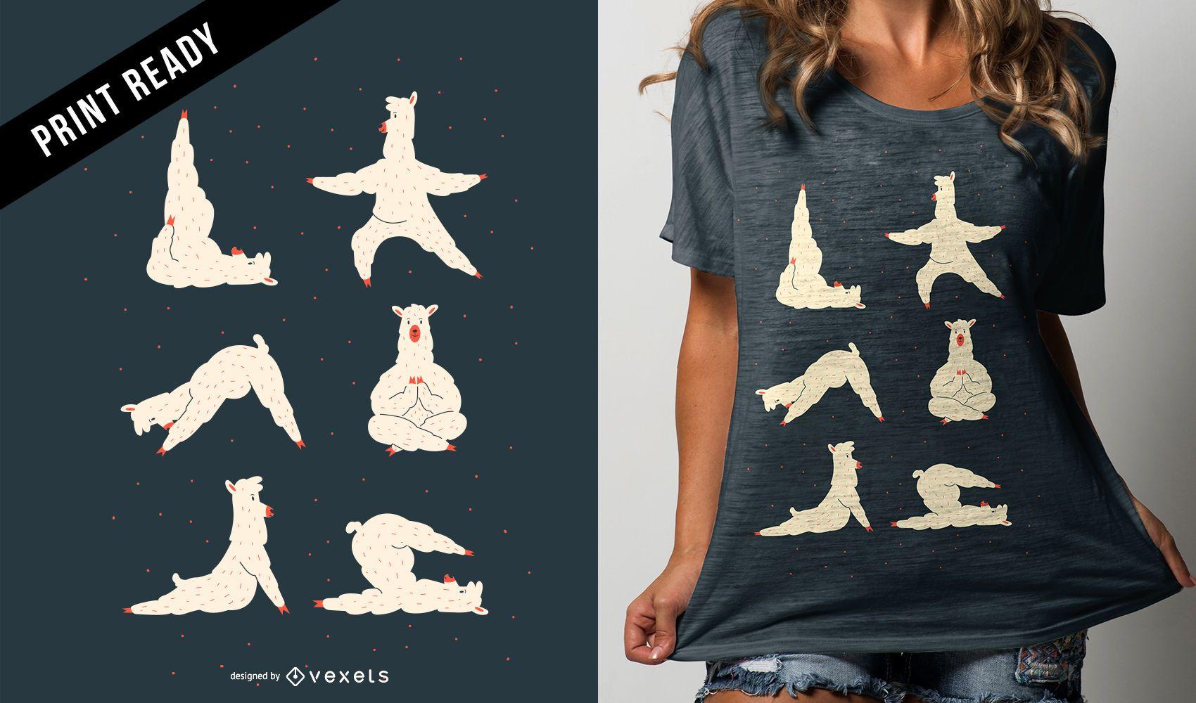 Llama Yoga Funny Cute Cartoon T-shirt Design