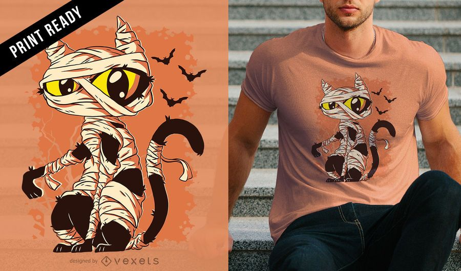 Mummy Cat Funny Halloween Cartoon T-shirt Design
