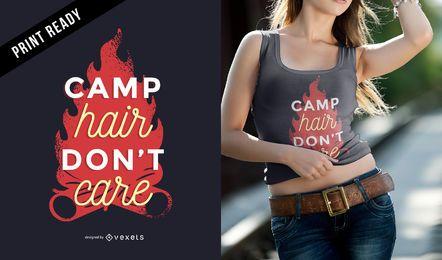 O cabelo do acampamento não se importa o projeto engraçado do t-shirt do acampamento das citações