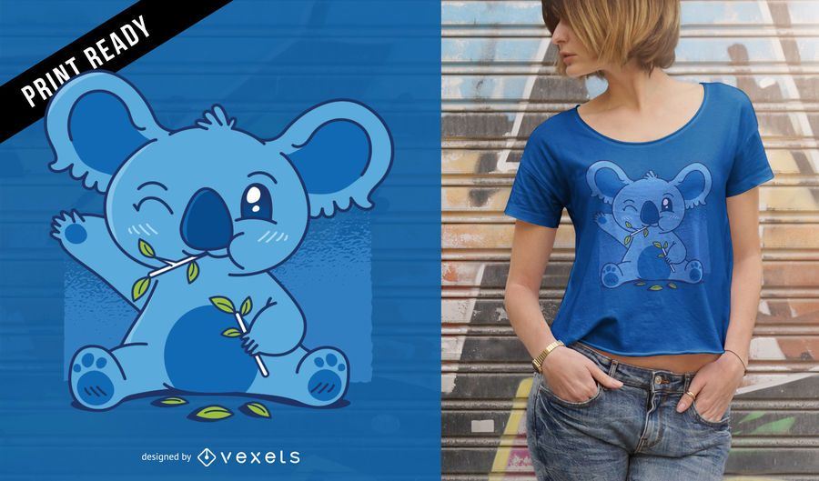 Koala bonito que come o design do t-shirt do eucalipto