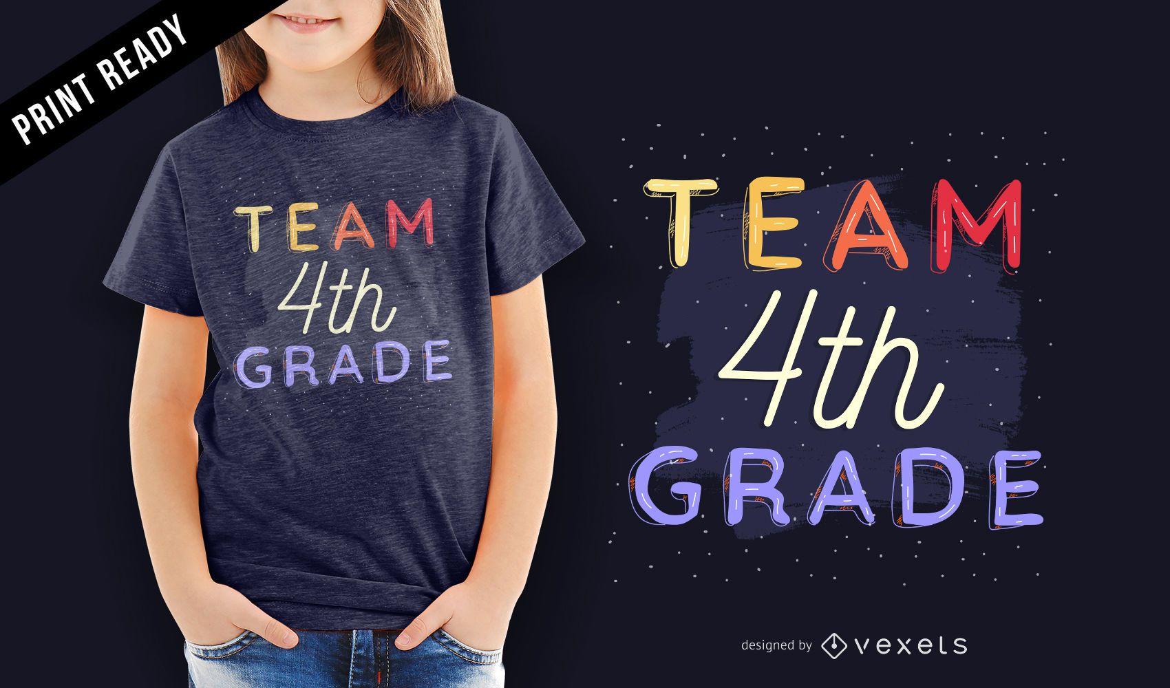 Equipo de 4to grado maestro de escuela estudiante diseño de camiseta para niños.