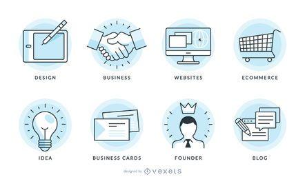 Conjunto de gráficos de vector de iconos de negocios