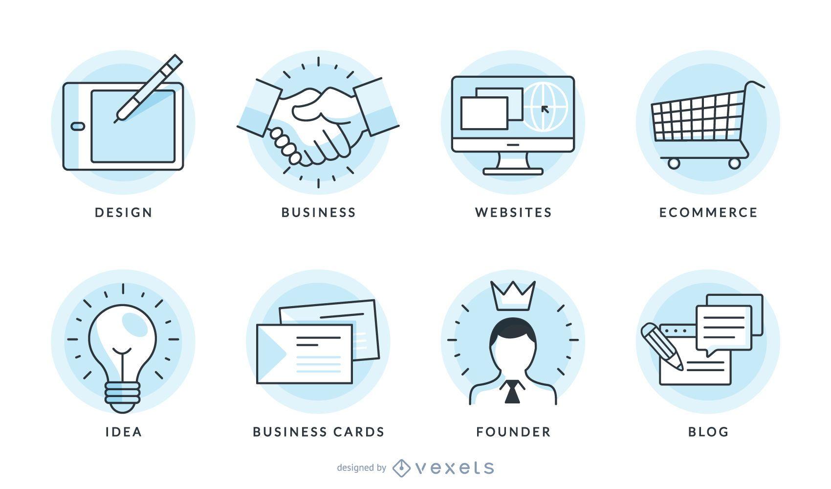Conjunto de gráficos vetoriais de ícones de negócios