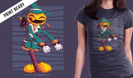 Fio de espantalho de abóbora dançando Design gráfico de t-shirt do dia das bruxas engraçado