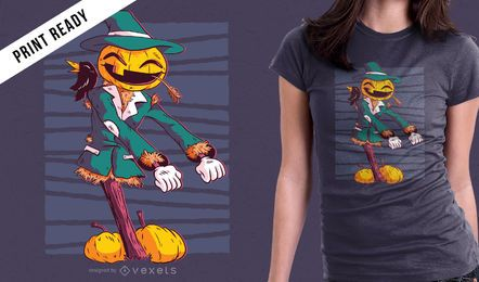 Pumpkin Scarecrow Floss Dancing Funny Halloween camiseta diseño gráfico