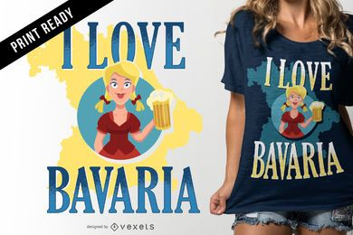 Eu amo o design do t-shirt de Baviera