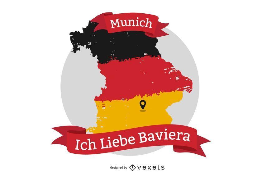 Diseño de camiseta Ich Liebe Baviera