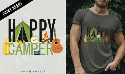 Diseño de camiseta de campista feliz