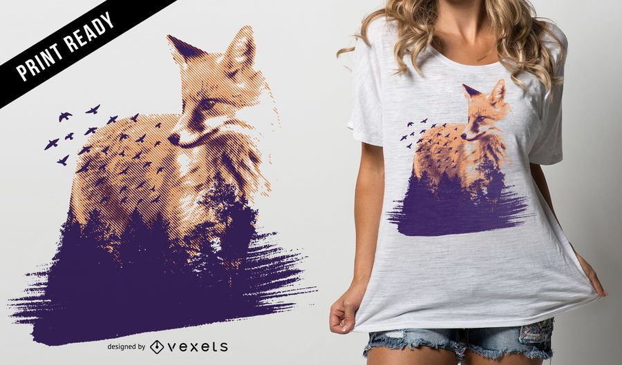 Projeto do t-shirt da raposa da floresta