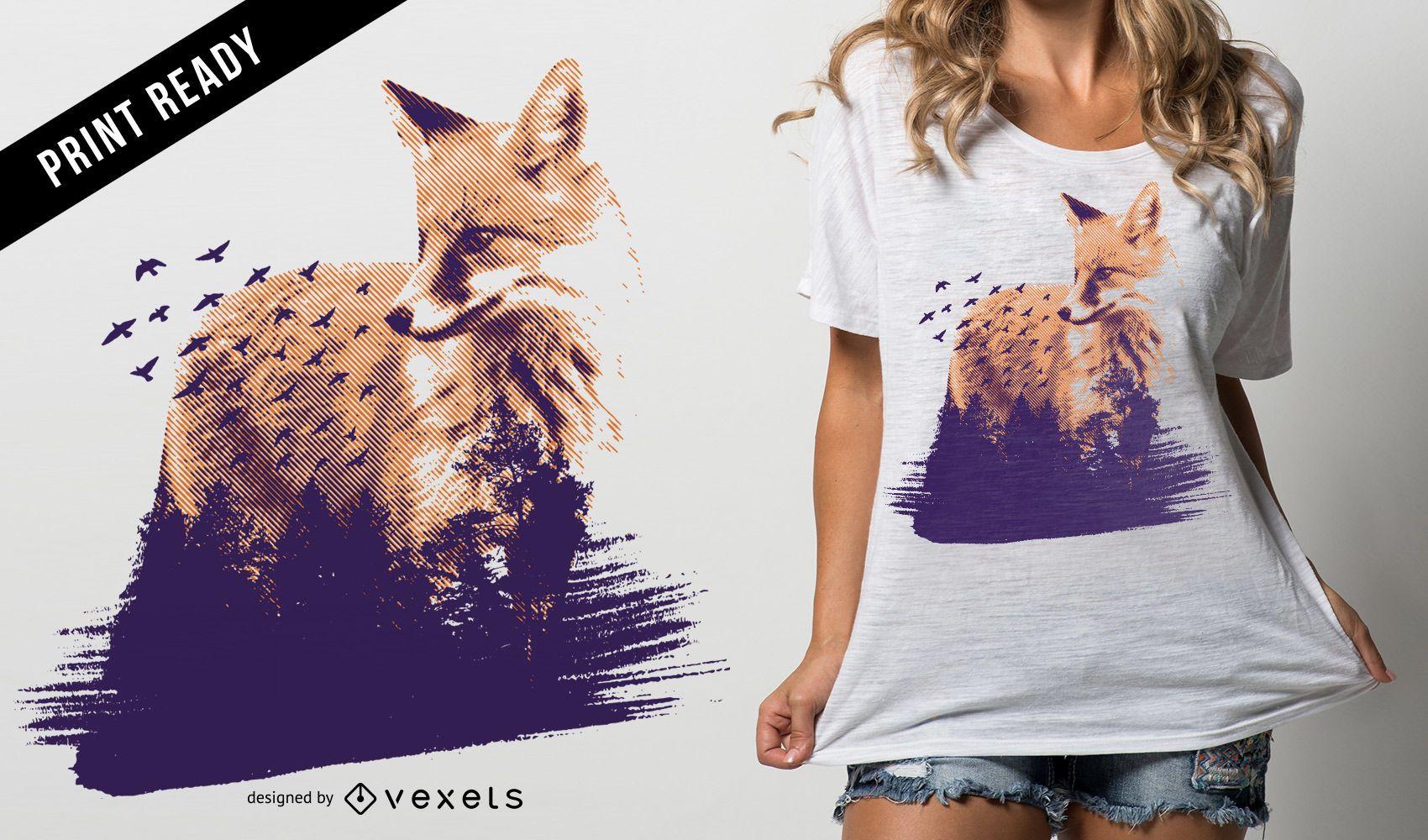 Forest fox t-shirt design