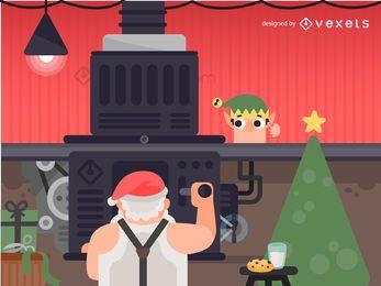 Ilustração de máquina de Santa