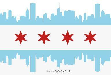 Chicago flag city silhouette