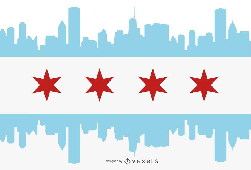 Chicago flag city silhouette