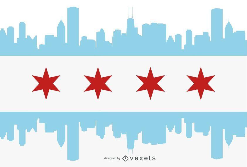 Silhueta de cidade de bandeira de Chicago