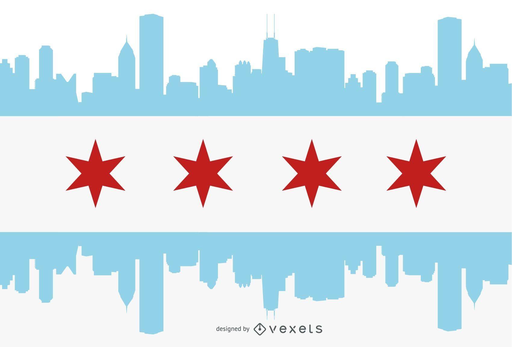 Silhueta da cidade com bandeira de Chicago