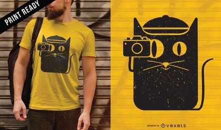 Diseño de camiseta de gato y cámara.