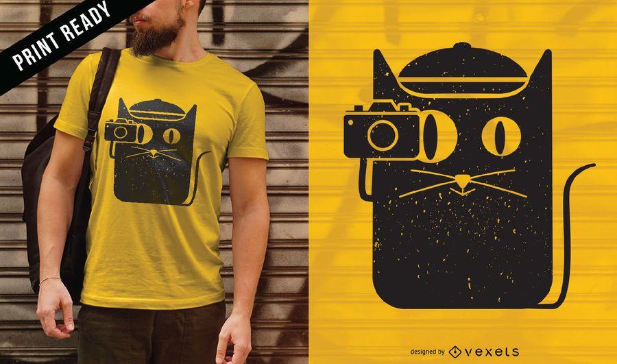 Cat and camera t-shirt design