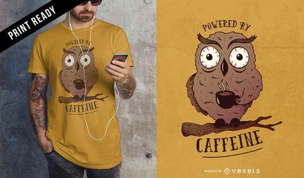 Diseño de camiseta búho cafeína.