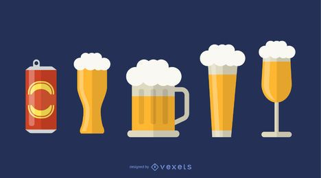 Conjunto de ícones de copos de cerveja