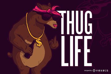 Bear thug life illustration