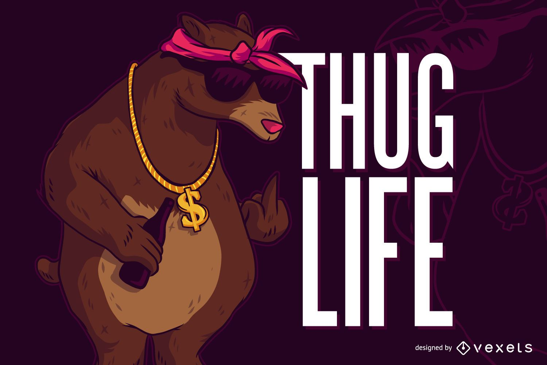 Bear thug life illustration