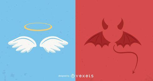 Engel und Teufel Symbole