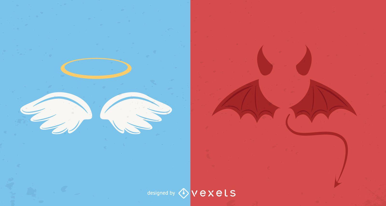 Iconos de ángel y diablo