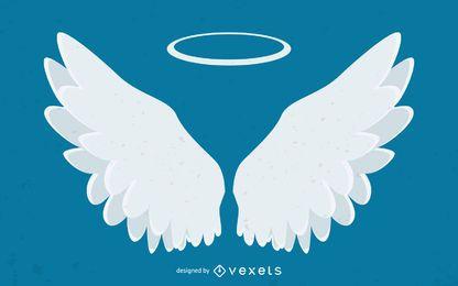 Asas de anjo e ilustração de halo