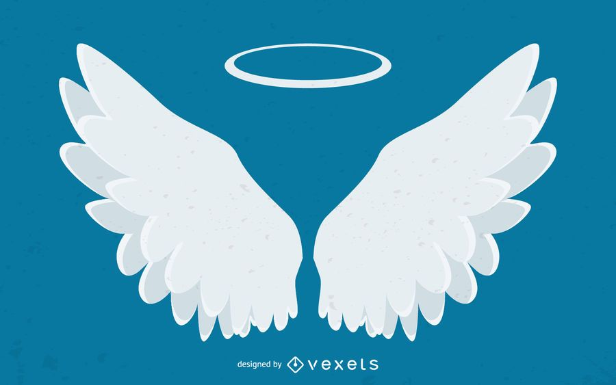 Angel wings and halo illustration
