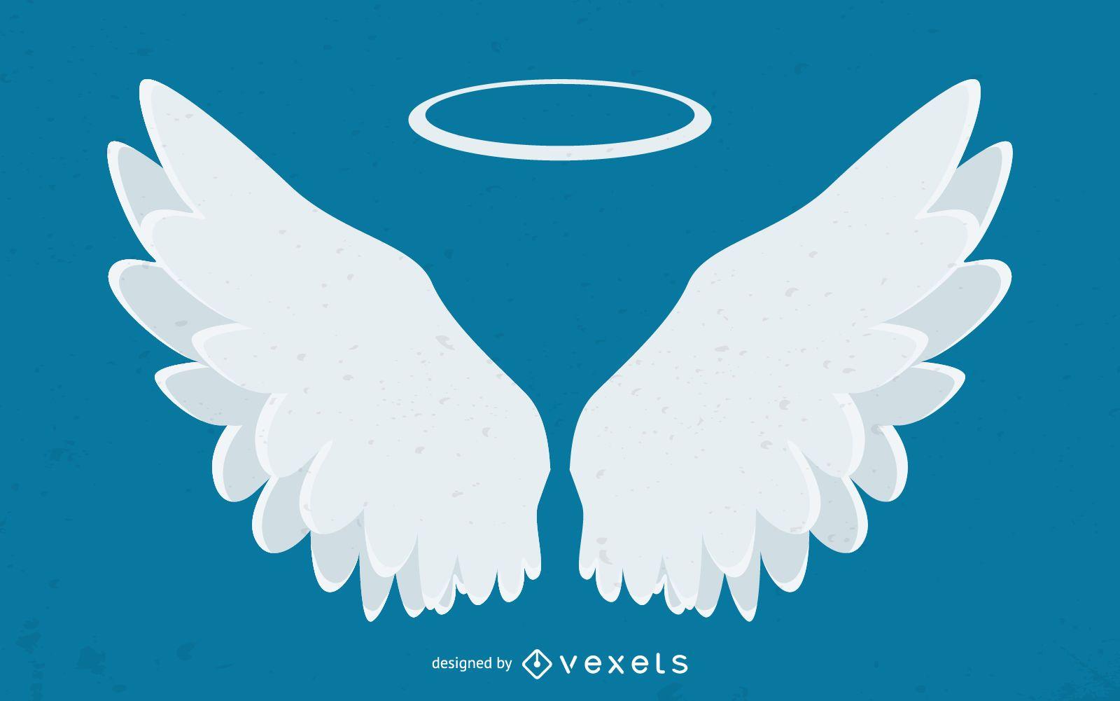 Ilustración de alas de ángel y halo