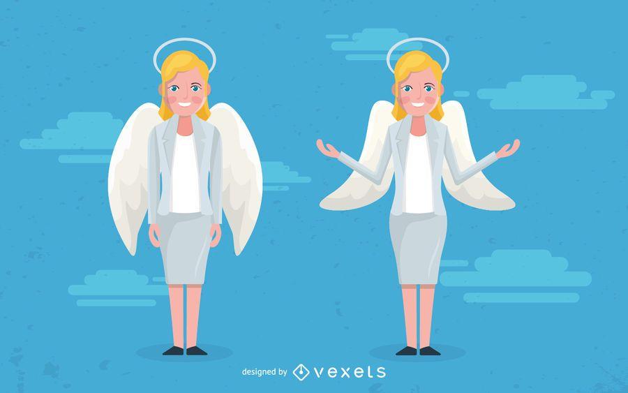 Mulher, anjo, ilustração