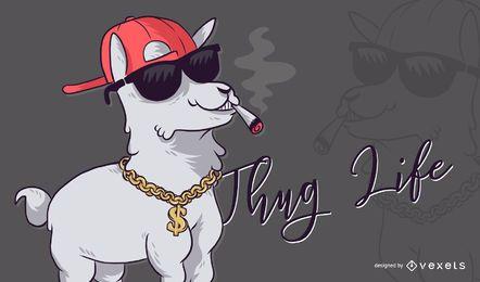Ilustração de Alpaca Thug Life
