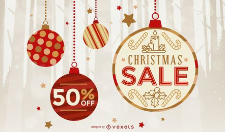 Christmas sale ornament background