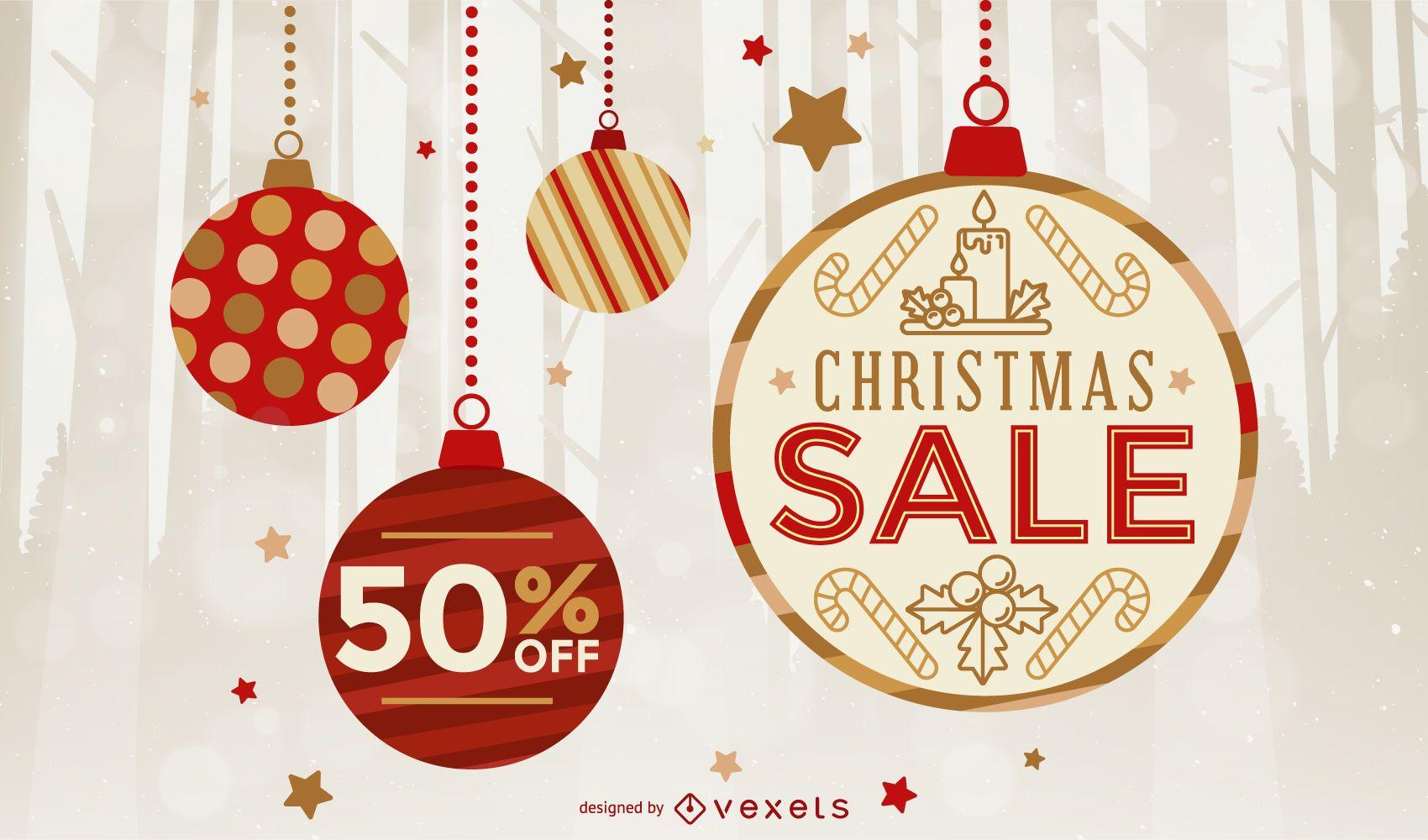 Fondo de adorno de venta de navidad