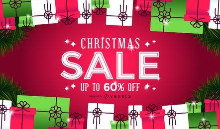 Fondo de regalos de venta de navidad