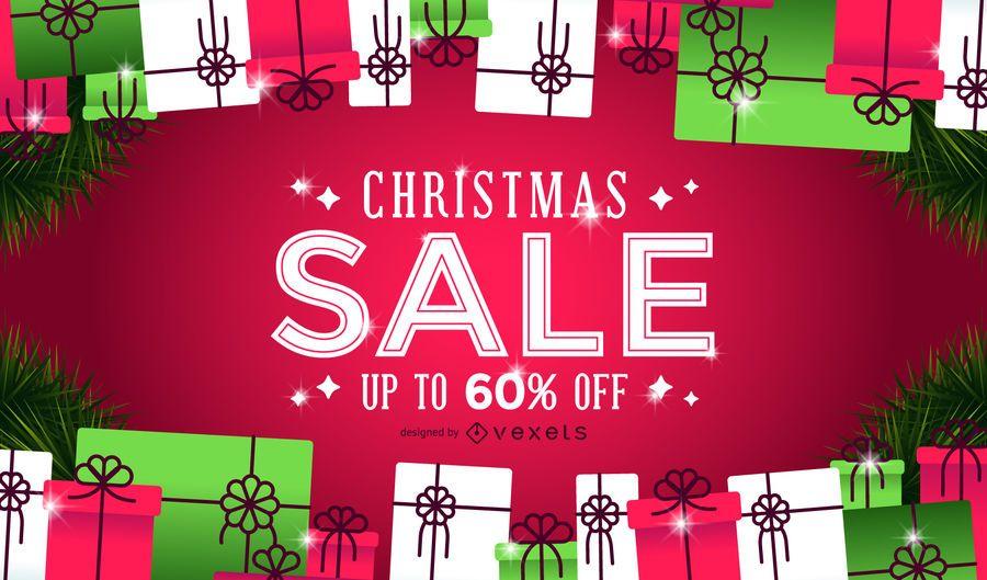 Fundo de presentes de venda de Natal